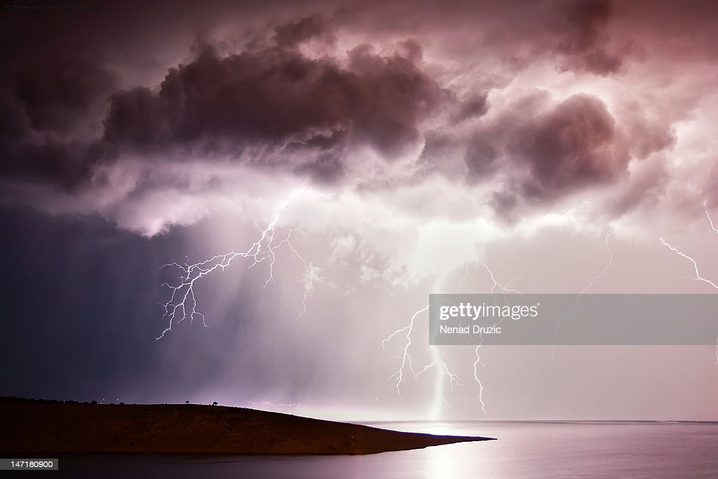 Thunderstruck over sea, Scott Cove, Croatia.