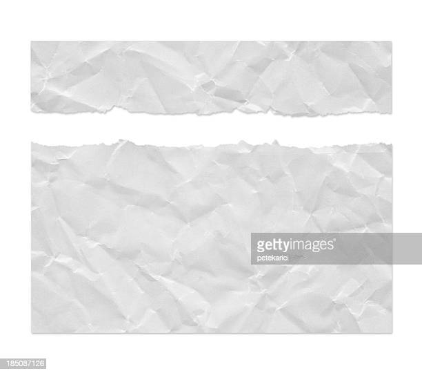 Ragged Wrinkled White Paper (Clipping Path)