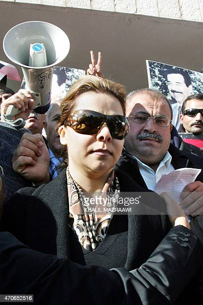 Raghad Saddam Hussein the daughter of executed ousted Iraqi president Saddam Hussein attends a protest held against her father's execution in the...