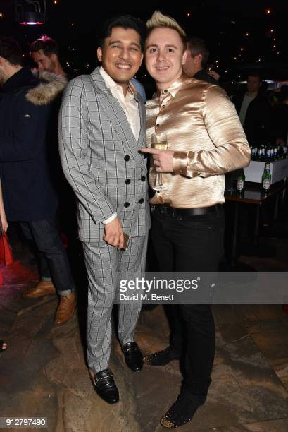 Raghav Tibrewal and John Galea attend Bunga Bunga Covent Garden's 1st birthday party on January 31 2018 in London England