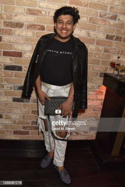 Raghav Tibrewal attends the Edeline Lee X Glass Magazine party during London Fashion Week September 2018 at Kadie's Cocktail Bar Club on September 17...