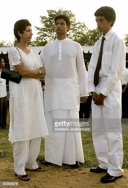 Raghavan Kadirgamar son of slain Sri Lankan Foreign Minister Lakshman Kadirgamar is accompanied by his nephew Kiera Perera and sister Ajitha as he...