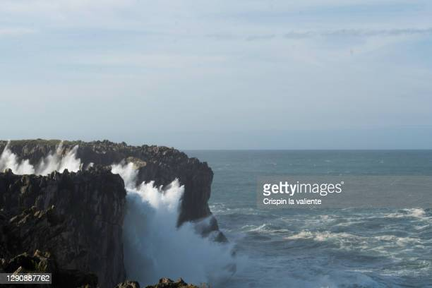 """raging sea, natural phenomenon """"bufones"""". - rocky coastline stock pictures, royalty-free photos & images"""