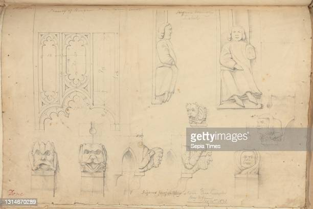 Raglan Castle, Monmouthshire, Wales: Details of Tracery and Sculpted Figures, unknown artist, , Studio of Augustus Charles Pugin, 1762–1832, French,...
