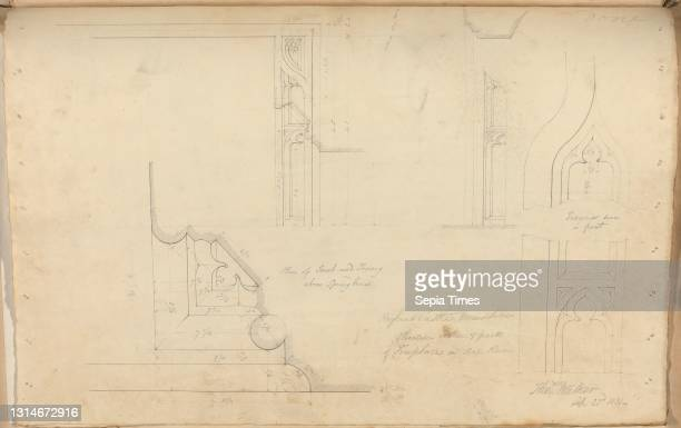 Raglan Castle, Monmouthshire, Wales: Elevation and Section of Fireplace in Ante Room, unknown artist, , Studio of Augustus Charles Pugin, 1762–1832,...