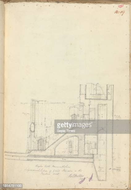 Raglan Castle, Monmouthshire, Wales: Longitudinal Section of Grand Staircase, unknown artist, , Studio of Augustus Charles Pugin, 1762–1832, French,...