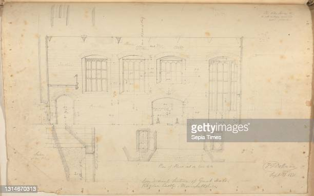 Raglan Castle, Monmouthshire, Wales: Longitudinal Section of Great Hall, unknown artist, , Studio of Augustus Charles Pugin, 1762–1832, French,...