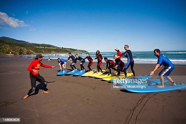 Raglan Surf Shool and Mojo Surf School instructers give their surf students pointers on how to improve.