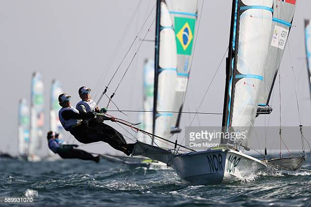 Ragna Agerup of Norway and Maia Agerup of Norway compete during their Women's 49er FX class race on Day 10 of the Rio 2016 Olympic Games at the...