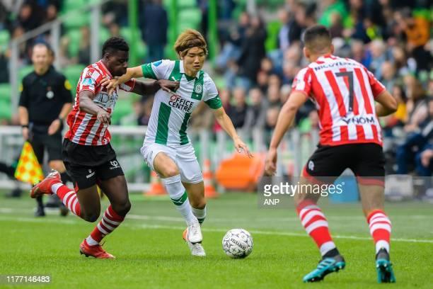 Ragnar Ache of Sparta Rotterdam, Ko Itakura of FC Groningen, Abdou Harroui of Sparta Rotterdam during the Dutch Eredivisie match between FC Groningen...