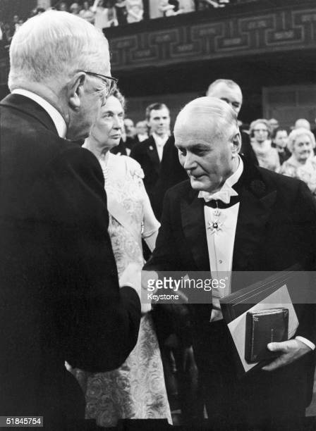 Ragnar Granit receives the 1967 Nobel Prize in Medicine from King Gustav Adolf of Sweden at the Stockholm Concert Hall 10th December 1967 Granit...