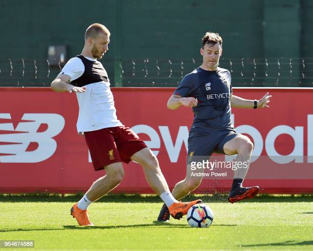 Ragnar Klavan and Conall Murtagh Firstteam fitness coach of Liverpool during a training session at Melwood Training Ground on May 4 2018 in Liverpool...