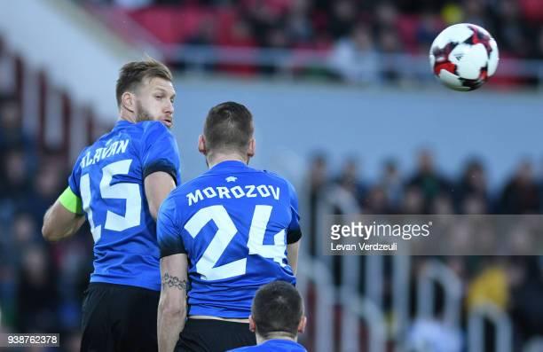 Ragnar Klavan and Igor Morozov both Estonians fight for the ball in air during international friendly match between Georgia and Estonia at Mikheil...