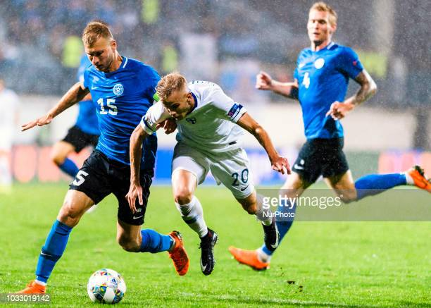 Ragnar Klavan Jasse Tuominen and Joonas Tamm with the ball during the UEFA Nations League football match between Finland and Estonia at the Veritas...