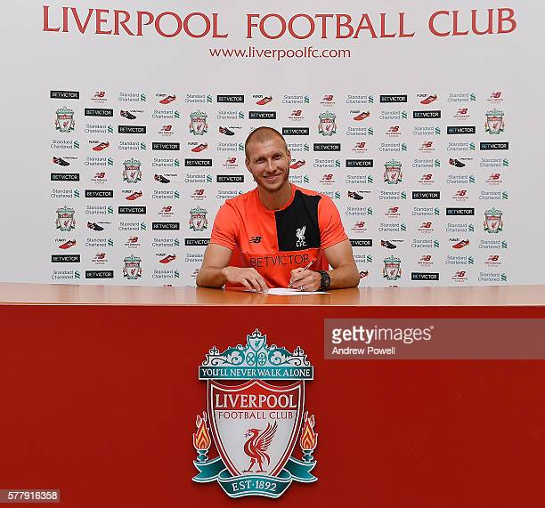 Ragnar Klavan new signing of Liverpool at Melwood Training Ground on July 20 2016 in Liverpool England