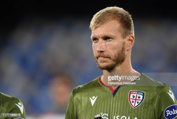 Ragnar Klavan of Cagliari Calcio during the Serie A match between SSC Napoli and Cagliari Calcio at Stadio San Paolo on September 25, 2019 in Naples,...