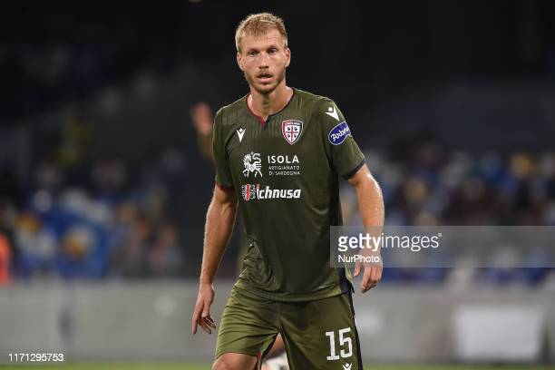 Ragnar Klavan of Cagliari Calcio during the Serie A TIM match between SSC Napoli and Cagliari Calcio at Stadio San Paolo Naples Italy on 25 September...