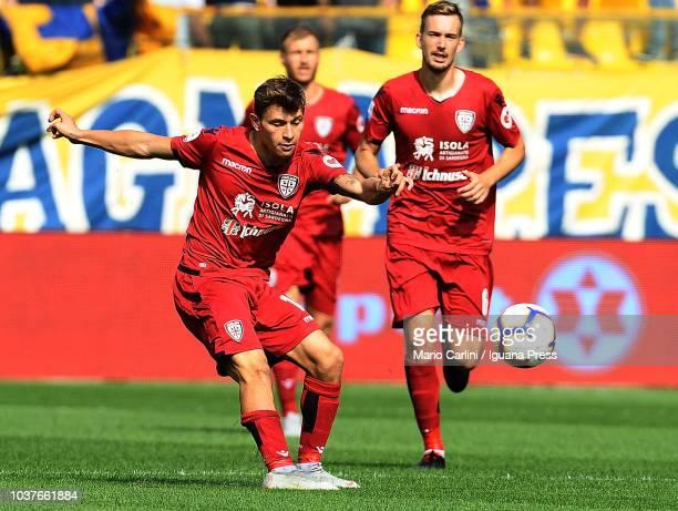 Ragnar Klavan of Cagliari in action during the serie A match between Parma Calcio and Cagliari at Stadio Ennio Tardini on September 22 2018 in Parma...