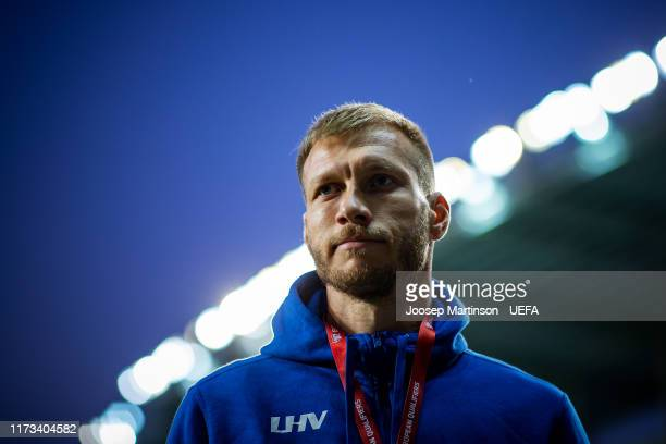 Ragnar Klavan of Estonia looks on ahead of the UEFA Euro 2020 Qualifier group C match between Estonia and Netherlands at A le Coq Arena on September...