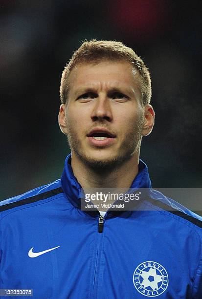 Ragnar Klavan of Estonia looks on during the Estonia and Republic of Ireland EURO 2012 qualifier play off first leg at the A Le Coq Arena on November...