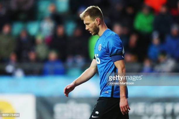 Ragnar Klavan of Estonia walks on during international friendly between Estonia and Croatia at A le Coq Arena on March 28 2017 in Tallinn Estonia