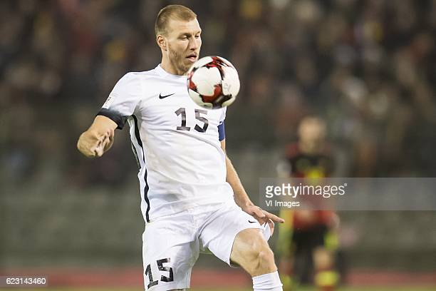 Ragnar Klavan of Estoniaduring the FIFA World Cup 2018 qualifying match between Belgium and Estonia on November 13 2016 at the Koning Boudewijn...