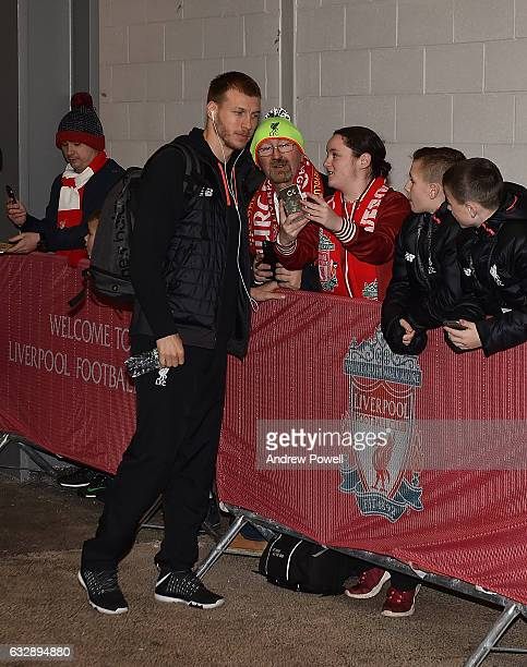 Ragnar Klavan of Liverpool arrives before the Emirates FA Cup Fourth Round match between Liverpool and Wolverhampton Wanderers at Anfield on January...