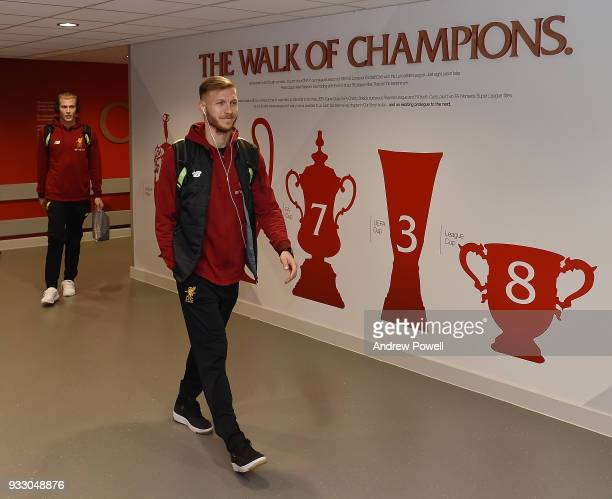 Ragnar Klavan of Liverpool arrives before the Premier League match between Liverpool and Watford at Anfield on March 17 2018 in Liverpool England