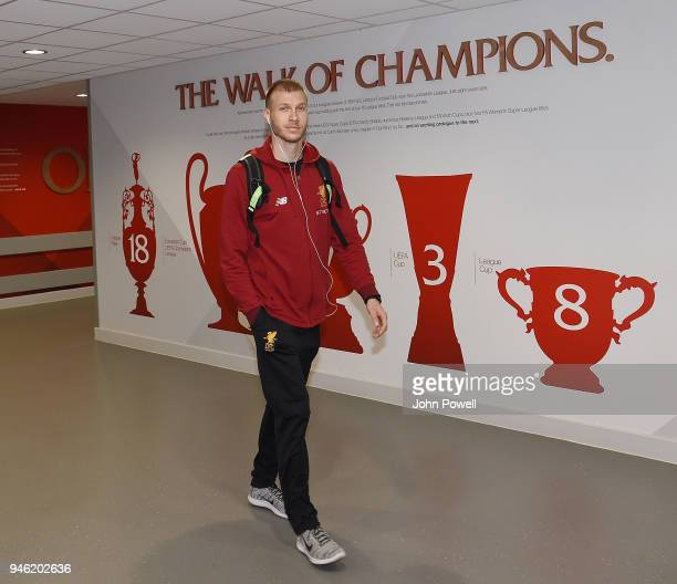 Ragnar Klavan of Liverpool arrives before the Premier League match between Liverpool and AFC Bournemouth at Anfield on April 14 2018 in Liverpool...