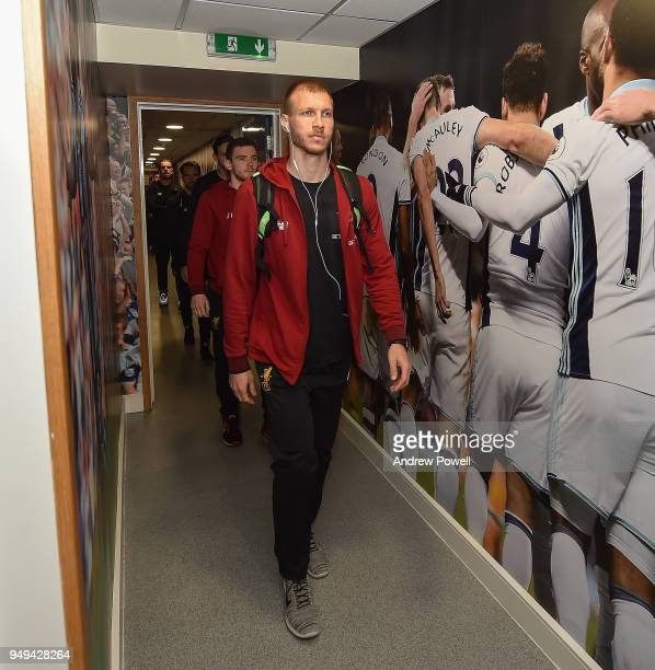 Ragnar Klavan of Liverpool arrives before the Premier League match between West Bromwich Albion and Liverpool at The Hawthorns on April 21 2018 in...