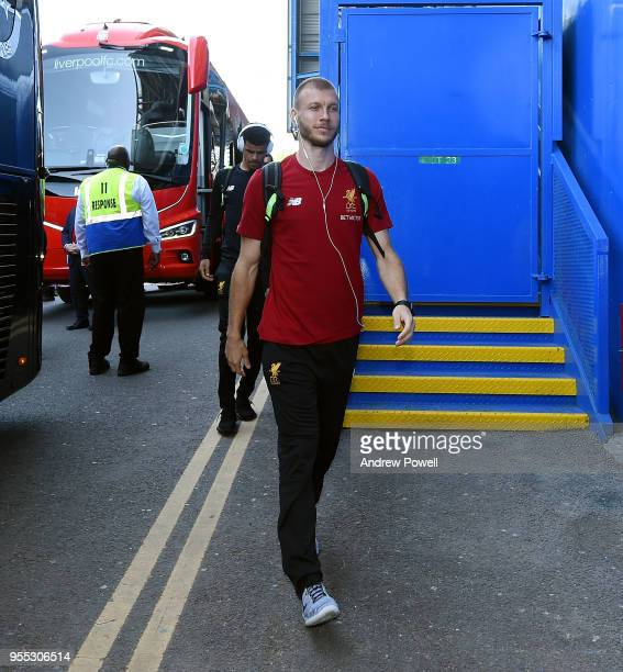 Ragnar Klavan of Liverpool arrives before the Premier League match between Chelsea and Liverpool at Stamford Bridge on May 6 2018 in London England