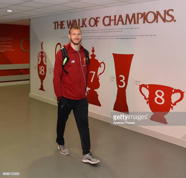 Ragnar Klavan of Liverpool arrives before the Premier League match between Liverpool and Brighton and Hove Albion at Anfield on May 13 2018 in...