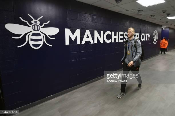 Ragnar Klavan of Liverpool arrives before the UEFA Champions League Quarter Final Second Leg match between Manchester City and Liverpool at Etihad...