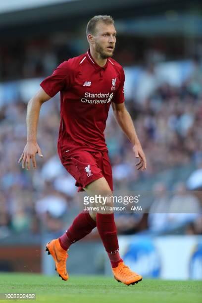 Ragnar Klavan of Liverpool at Ewood Park on July 19, 2018 in Blackburn, England.