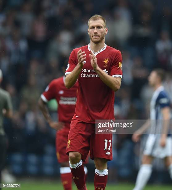 Ragnar Klavan of Liverpool at the end of the Premier League match between West Bromwich Albion and Liverpool at The Hawthorns on April 21 2018 in...