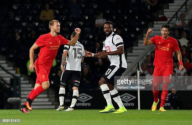 Ragnar Klavan of Liverpool celebrates scoring the opening goal during the EFL Cup Third Round match between Derby County and Liverpool at iPro...