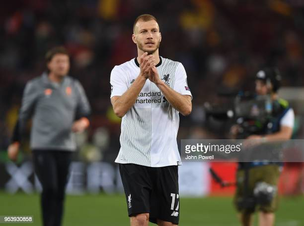 Ragnar Klavan of Liverpool celebrates the victory at the end of the UEFA Champions League Semi Final Second Leg match between AS Roma and Liverpool...