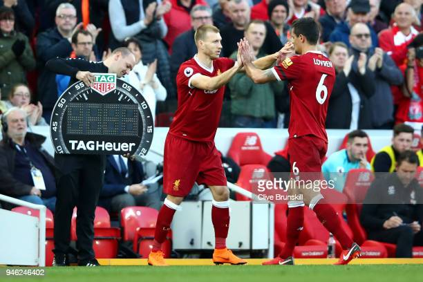 Ragnar Klavan of Liverpool comes on for Dejan Lovren of Liverpool during the Premier League match between Liverpool and AFC Bournemouth at Anfield on...
