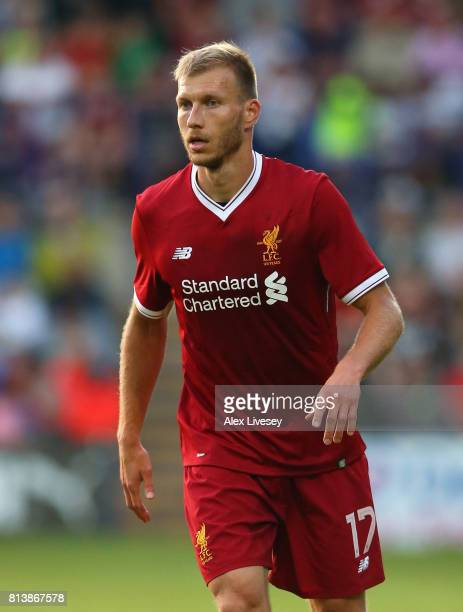 Ragnar Klavan of Liverpool during a preseason friendly match between Tranmere Rovers and Liverpool at Prenton Park on July 12 2017 in Birkenhead...