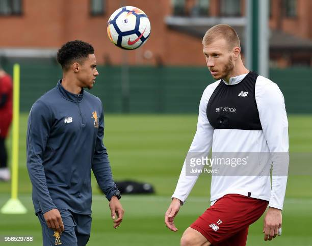 LIVERPOOL ENGLAND MAY 09 Ragnar Klavan of Liverpool during a training session at Melwood on May 9 2018 in Liverpool England