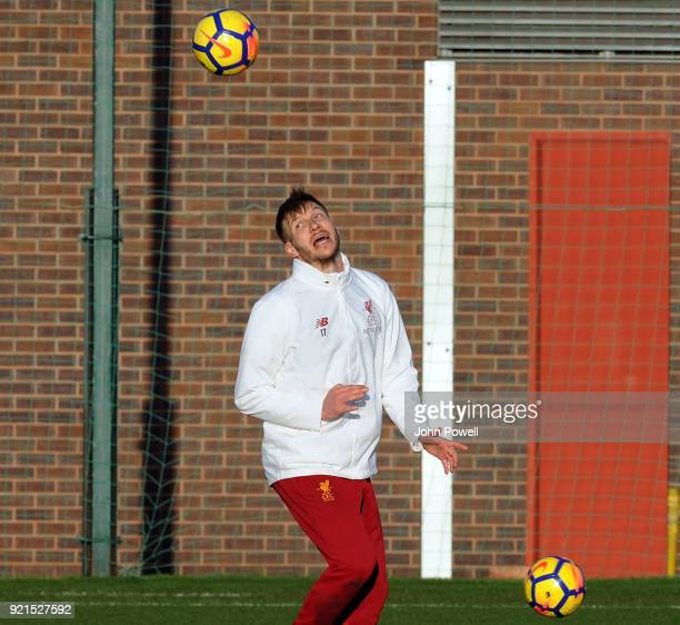 LIVERPOOL ENGLAND FEBRUARY 20 Ragnar Klavan of Liverpool during a training session at Melwood Training Ground on February 20 2018 in Liverpool England