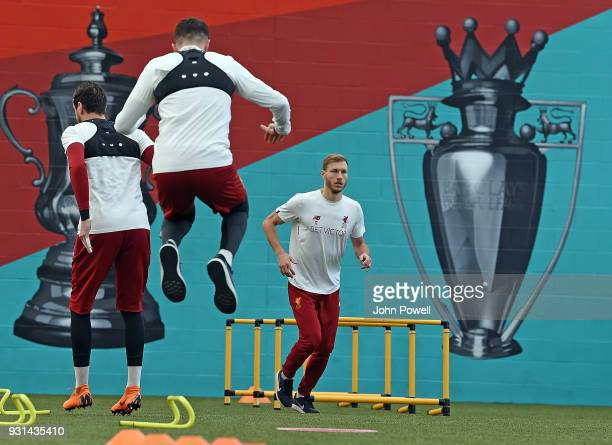 Ragnar Klavan of Liverpool during a training session at Melwood Training Ground on March 13 2018 in Liverpool England