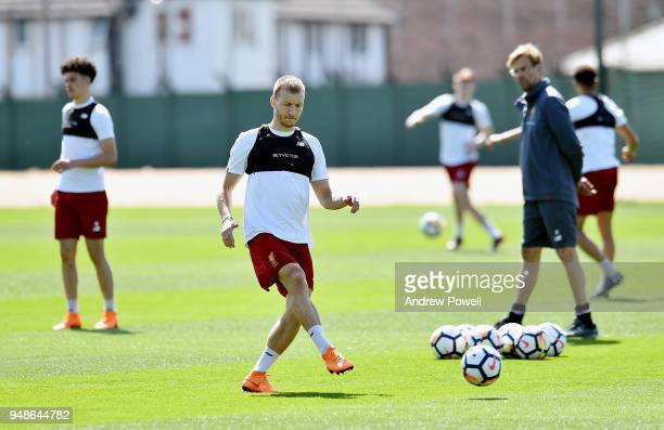 Ragnar Klavan of Liverpool during a training session at Melwood Training Ground on April 19 2018 in Liverpool England