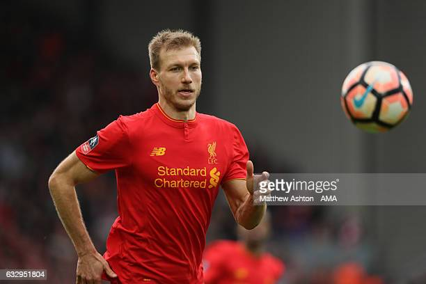 Ragnar Klavan of Liverpool during The Emirates FA Cup Fourth Round between Liverpool and Wolverhampton Wanderers at Anfield on January 28 2017 in...