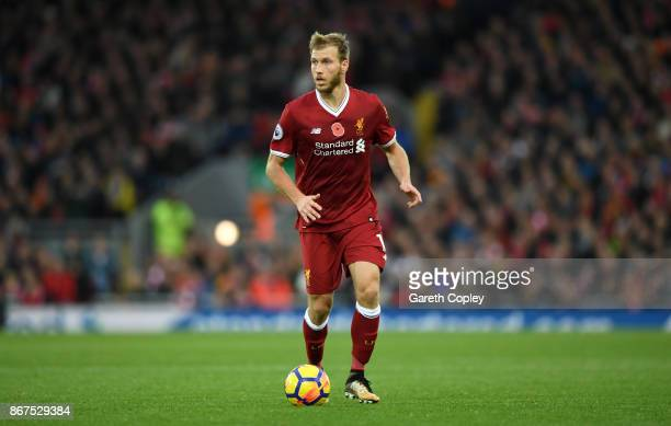 Ragnar Klavan of Liverpool during the Premier League match between Liverpool and Huddersfield Town at Anfield on October 28 2017 in Liverpool England