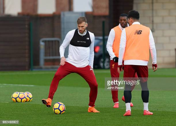 Ragnar Klavan of Liverpool during the training session at Melwood Training Ground on March 15 2018 in Liverpool England