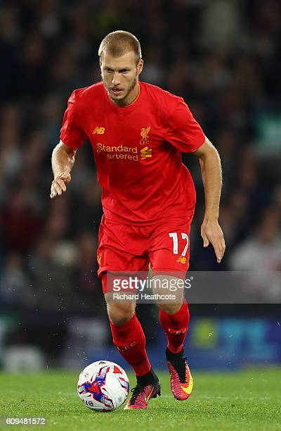 Ragnar Klavan of Liverpool in action during the EFL Cup Third Round match between Derby County and Liverpool at iPro Stadium on September 20 2016 in...