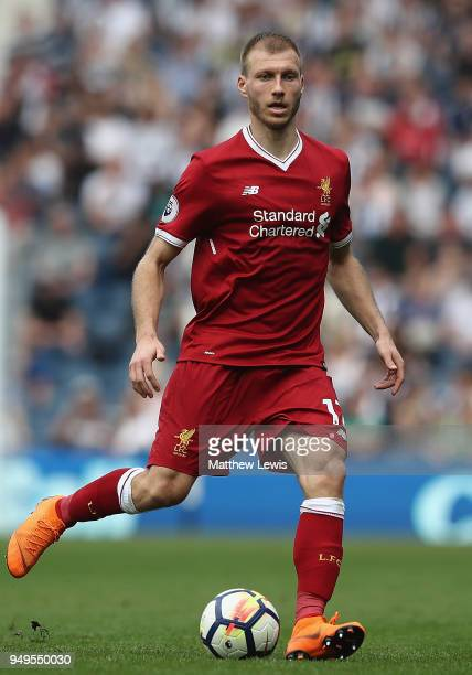 Ragnar Klavan of Liverpool in action during the Premier League match between West Bromwich Albion and Liverpool at The Hawthorns on April 21 2018 in...