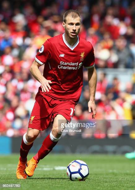 Ragnar Klavan of Liverpool in action during the Premier League match between Liverpool and Stoke City at Anfield on April 28 2018 in Liverpool England