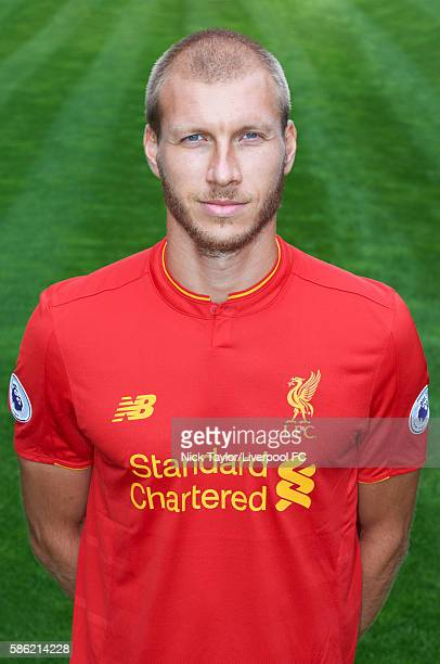 Ragnar Klavan of Liverpool poses for a portrait at Melwood Training Ground on August 5 2016 in Liverpool England
